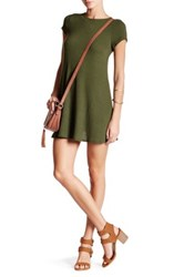 Abound Short Sleeve Ribbed Dress Green