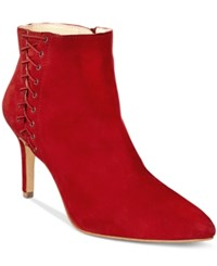 Inc International Concepts Women's Tovie Lace Up Dress Booties Only At Macy's Women's Shoes Bright Red