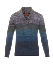 Missoni Shawl Neck Cable Wool Knit Sweater