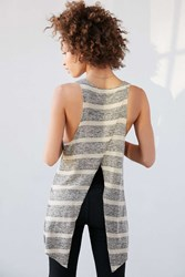 Project Social T Striped Tulip Back Tank Top Grey