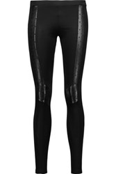 Just Cavalli Faux Leather Trimmed Stretch Jersey Leggings Black