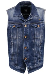 G Star Gstar 3301 Jkt S Less Waistcoat Aiden Stretch Denim Blue Denim