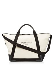 Balenciaga Ligne Large Cotton Canvas Weekend Bag Black Beige