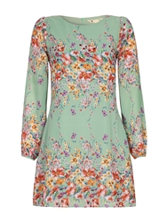 Yumi Butterfly And Floral Sleeved Tunic Dress Mint