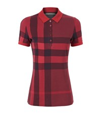 Burberry Check Stretch Cotton Pique Polo Shirt Female Red