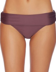 Luxe By Lisa Vogel Solid Banded Bikini Bottom Wine