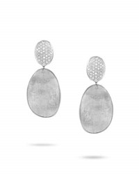 Marco Bicego Lunaria Double Drop Diamond Earrings In 18K White Gold