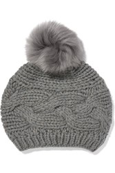Karl Donoghue Cable Knit Wool Beanie Anthracite
