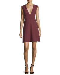 Elizabeth And James Charlie Sleeveless V Neck Stretch Dress Bordeaux