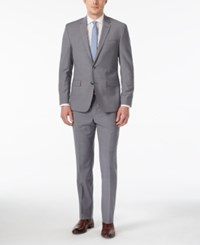Kenneth Cole New York Men's Slim Fit Grey And Blue Checked Performance Travel Suit Grey Blue