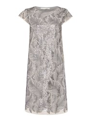 Oui Feather Sequin Dress Grey