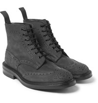 Tricker's Stow Nubuck Brogue Boots Black