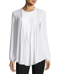 Max Studio Pintucked Georgette Blouse Ivory