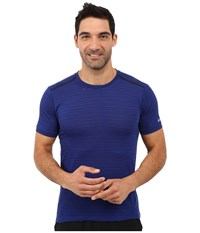 Nike Dri Fit Cool Tailwind Stripe Running Shirt Deep Royal Blue Reflective Silver Men's Workout