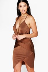 Boohoo Wrap Skirt Detail Plunge Neck Bodycon Dress Chocolate