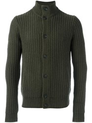 Sun 68 Round Neck Cardigan Green