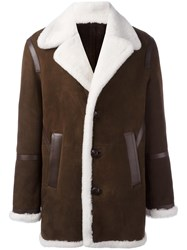 Neil Barrett Shearling Short Coat Brown