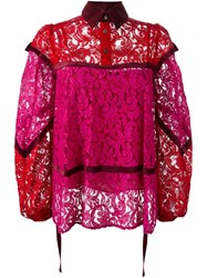 Sacai Lace Panelled Blouse Pink And Purple