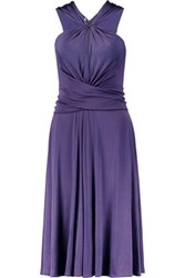 Halston Heritage Gathered Satin Jersey Dress Purple