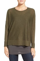 Eileen Fisher Women's Ballet Neck Boxy High Low Pullover Caper