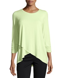 Joan Vass Layered 3 4 Sleeve Scoop Neck Blouse Light Celery