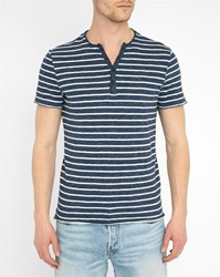 Harris Wilson Blue Grandad Collar Striped Cotton Marl T Shirt