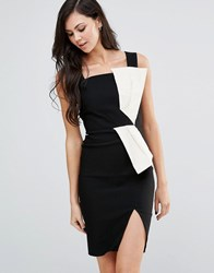 Vesper Monochrome Pencil Dress With Bow Detail Black Ivory