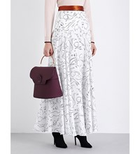 Roksanda Ilincic Keating Silk Twill Maxi Skirt White Black Tobacco