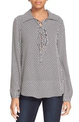 Frame Women's Geo Print Lace Up Silk Blouse