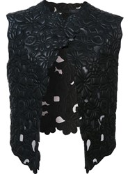 Elie Saab Floral Leather Gilet Black