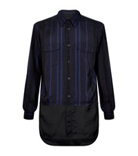3.1 Phillip Lim Stripe Military Shirt Male Navy