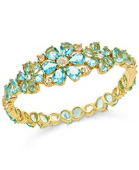 Kate Spade New York Gold Tone Blue Crystal Flower Bangle Bracelet