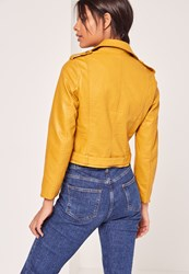 Missguided Faux Leather Biker Jacket Yellow Mustard