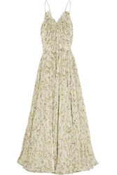 Alexander Mcqueen Pleated Floral Print Silk Chiffon Gown Pastel Yellow