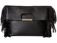 Alice Olivia Edie Pebbled Leather Fold Over Black