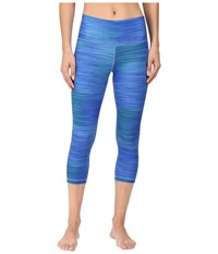 Adidas Performer Mid Rise 3 4 Tights Bold Blue Print Matte Silver Women's Workout
