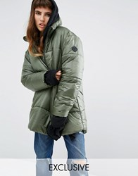 Puffa Oversized Over Head Half Zip Jacket Khaki Green