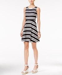 Tommy Hilfiger Striped Fit And Flare Dress Only At Macy's Deep Black