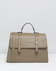 Asos Front Tab Satchel Bag Khaki Green