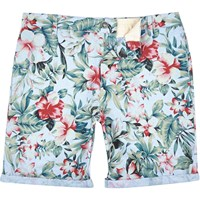 River Island Mens Blue Tropical Print Oxford Knee Length Shorts