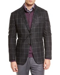 Ermenegildo Zegna Windowpane Two Button Silk Blazer Dark Gray