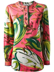Emilio Pucci Vintage Abstract Floral Top Pink And Purple