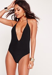 Missguided Skinny Strap Plunge Swimsuit Black Black