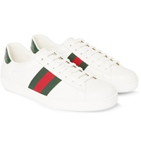 Gucci Crocodile And Webbing Trimmed Leather Sneakers