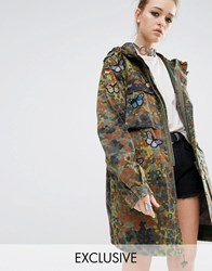 Reclaimed Vintage Military Parka Coat In Camo With Butterfly Patches Khaki Green
