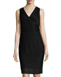 Laundry By Shelli Segal Platinum Sleeveless Beaded Sheath Dress Black