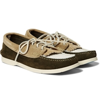 Yuketen Three Tone Panelled Suede Boat Shoes
