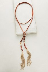 Anthropologie Beaded Suede Necklace Wine