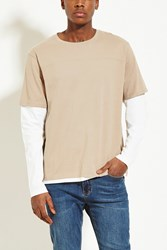 Forever 21 Layered Cotton Tee Taupe White