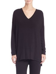 Natori Oversized V Neck Tee Warm White Black